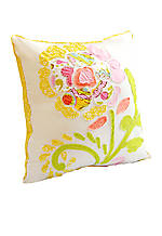 Sun Beam Multicolored Floral Patch Decorative Pillow 18-in. x 18-in.