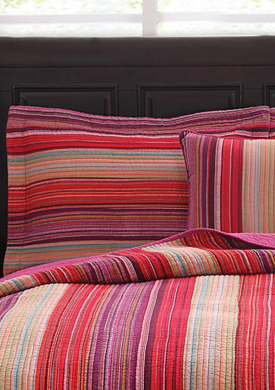 Retro Chic Flower Petal Stripe Multicolored Standard Sham