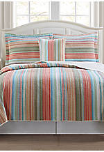 Beach Club Stripe Multicolored King Quilt 100-in. x 90-in.