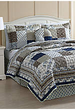 Callisi Brown/Blue 5-Piece Full/Queen Quilt Set 86-in. x 86-in.