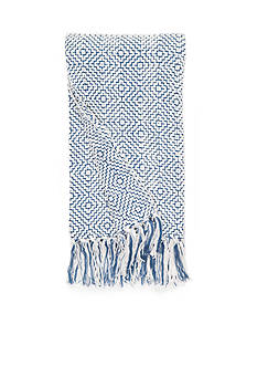 Home Accents Blue and Ivory Diamond Chenille Throw