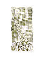 Diamond Olive and Ivory Chenille Throw
