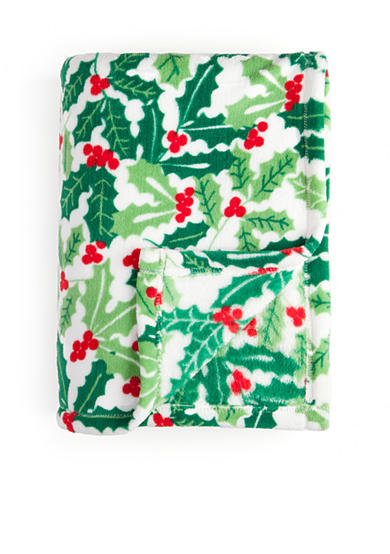Home Accents® Microplush Holly Jolly Throw
