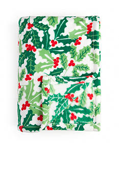 Home Accents Microplush Holly Jolly Throw