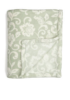 Home Accents Microplush Sage Floral Throw