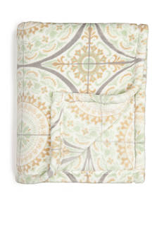 Home Accents Microplush Sage Tile Throw