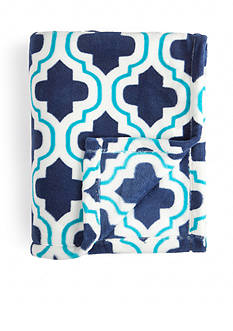 Home Accents Micro-plush Blue and Turquoise Trellis Throw