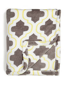 Home Accents Microplush Citron and Gray Trellis Throw