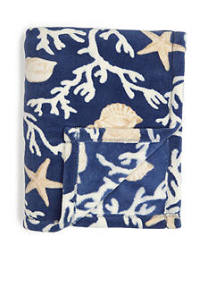 Home Accents Microplush Navy Coral Trellis Throw