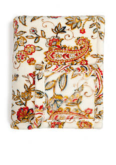 Home Accents Microplush Red Paisley Throw