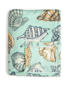 Home Accents Microplush Blue Aquatic Shells Throw