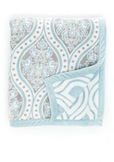 Home Accents Blue Ogee Reversible Plush Throw
