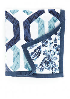Home Accents Indigo Paisley Jacobean Reversible Plush Throw