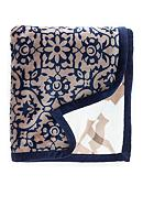Home Accents® Navy Tile Reversible Plush Throw