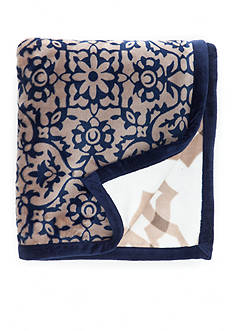 Home Accents Navy Tile Reversible Plush Throw