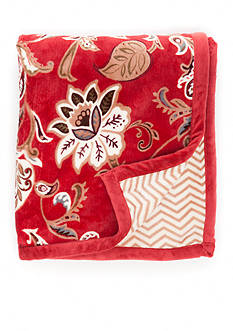Home Accents Red Jacobean Floral Reversible Plush Throw