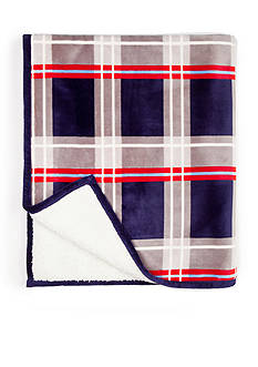 Home Accents Blue Plaid Cable Quilted Flannel to Sherpa Throw