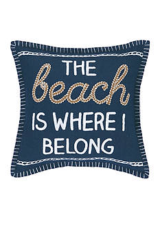 PEKING HANDICRAFT The Beach Is Where I Belong Decorative Pillow