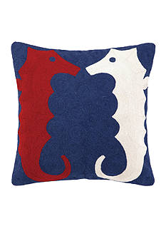 PEKING HANDICRAFT Seahorse Crewel Decorative Pillow