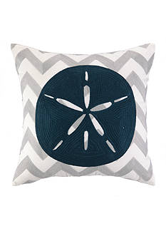 PEKING HANDICRAFT Sand Dollar Chevron Decorative Pillow