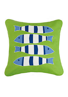 PEKING HANDICRAFT Green Nautical Four Fish Printed Pillow
