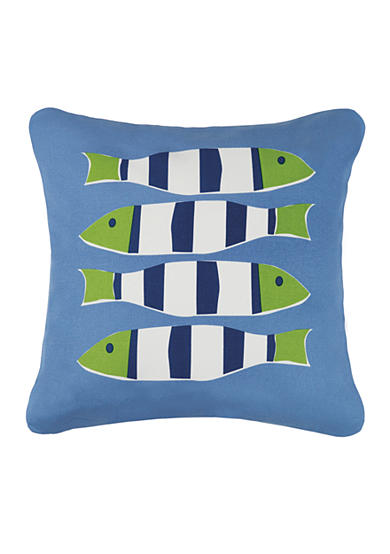 PEKING HANDICRAFT Blue Nautical Four Fish Decorative Pillow