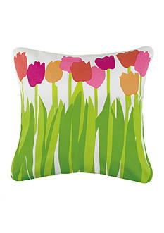 PEKING HANDICRAFT Tulips Printed Outdoor 20-in. Decorative Pillow
