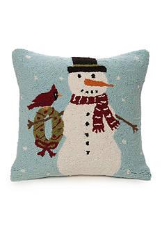 PEKING HANDICRAFT Hooked Snowman Decorative Pillow