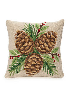 PEKING HANDICRAFT Hooked Pinecone Decorative Pillow