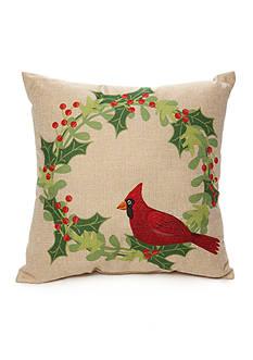 PEKING HANDICRAFT Embroidered Cardinal 16-in. Decorative Pillow