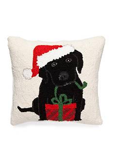 PEKING HANDICRAFT Black Lab With Christmas Present Decorative Pillow