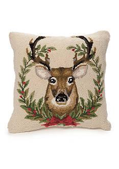 PEKING HANDICRAFT Embroidered Deer Decorative Pillow