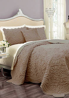 Vue VUE SIG CHARLOTTE FF QUEEN TAUPE COVERLET SET