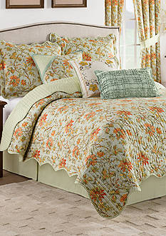 Waverly Felicite Persimmon 4-Piece Reversible Quilt Collection
