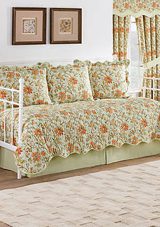 Waverly Felicite Persimmon Reversible 5 Piece Quilt Daybed Collection
