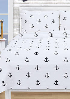 Lamont Home ANCHORS FQ COVERLET WHITE