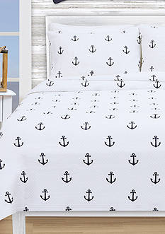 Lamont Home ANCHORS KING COVERLET WHITE