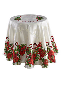 Fraiche Maison Christmas Cardinals Round Tablecloth