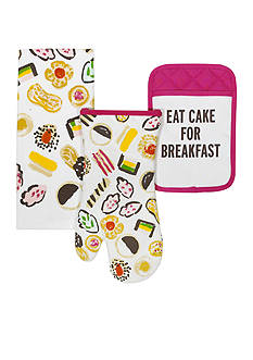 kate spade new york® Eat Cake For Breakfast 3-Piece Oven Mitt, Pot Holder, and Dish Towel Set