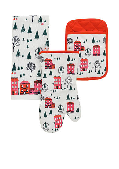 kate spade new york® Holiday Village 3-Piece Oven Mitt, Pot Holder, and Dish Towel Set