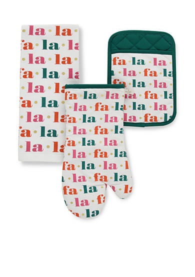 kate spade new york® Fa La La 3-Piece Oven Mitt, Pot Holder, and Dish Towel Set