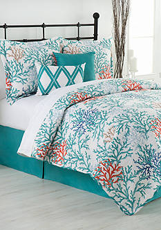 Home Accents Coral Reef Queen Reversible Bed-In-A-Bag Quilt
