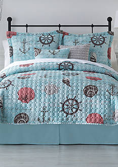 Home Accents Turnstyles Cove Bay Reversible 6-Piece Quilt Set