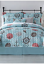 Turnstyles Cove Bay Reversible Full/Queen Quilt Set 90-in. x 90-in.