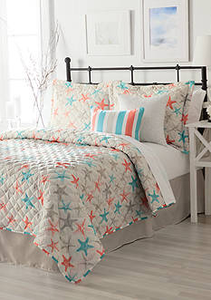 Home Accents® Turnstyles Starfish Reversible 6-Piece Quilt Set