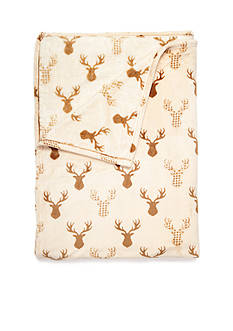 Home Accents PLUSH BLANKET DEER F/Q