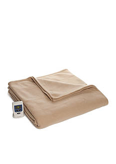 Biltmore Fleece Heated Khaki Queen Blanket