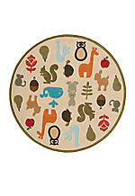 Lil Mo Critter Beige Area Rug 5' Round