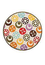 Lil Mo Dots Beige Area Rug 5' Round