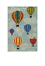Lil Mo Hot Air Balloon Turquoise Area Rug 4' X 6'